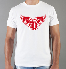 Футболка с принтом НХЛ Детройт Ред Уингз (NHL Detroit Red Wings) белая 004