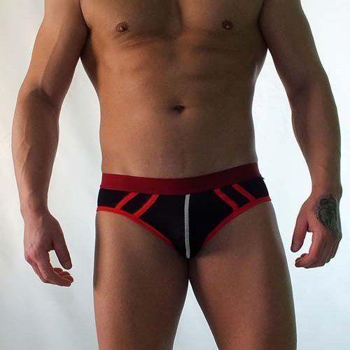 Трусы мужские брифы черные сеточка с красной резинкой Van Baam VB-38168