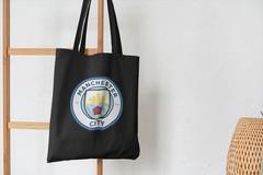 Сумка-шоппер с принтом FC Manchester City (ФК Манчестер Сити) черная 001