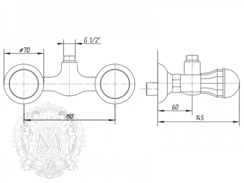 Смеситель для душа Korona Swarovski ML.KRN-4747 схема