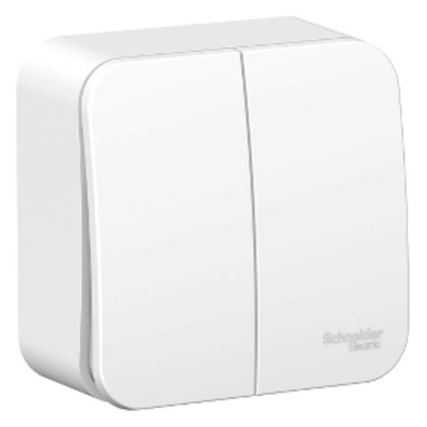 Выключатель двухклавишный накладной. 6А. 250В. Цвет Белый. Schneider Electric Blanca. BLNVA065011