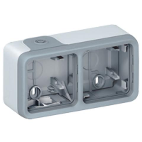 Рамка на 2 поста. Коробка для накладного монтажа c мембранными сальниками. Цвет Cерый. Legrand Plexo (Легранд Плексо). 069672