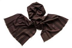 Шарф из шелка и шерсти коричневый 01275