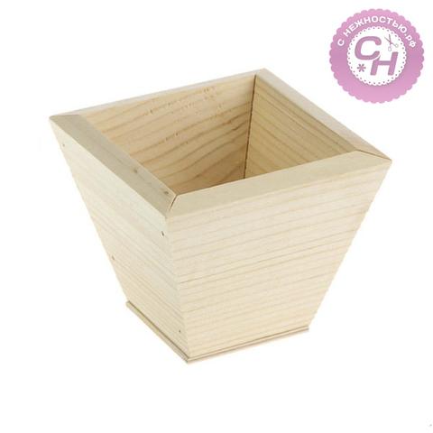 Кашпо деревянное, 11*11*9 см, 1 шт.