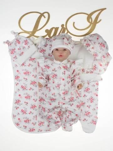 Комплект на выписку для новорожденных Роуз 7 предметов (бело\розовый)