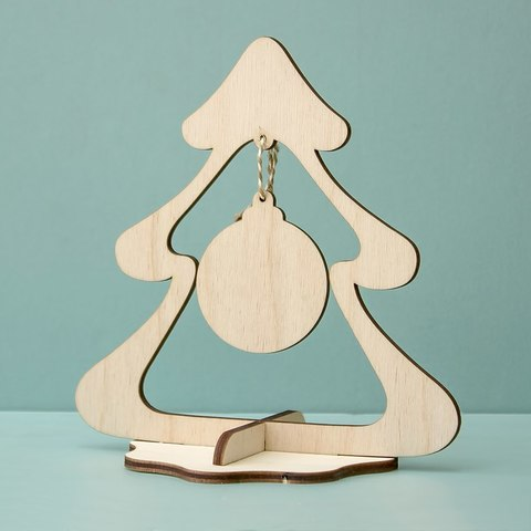 Елка с подвеской на подставке ДекорКоми большая из дерева заготовка для раскраски для нового года 10шт