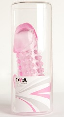 Розовая гелевая насадка с 2 отростками - 13 см.