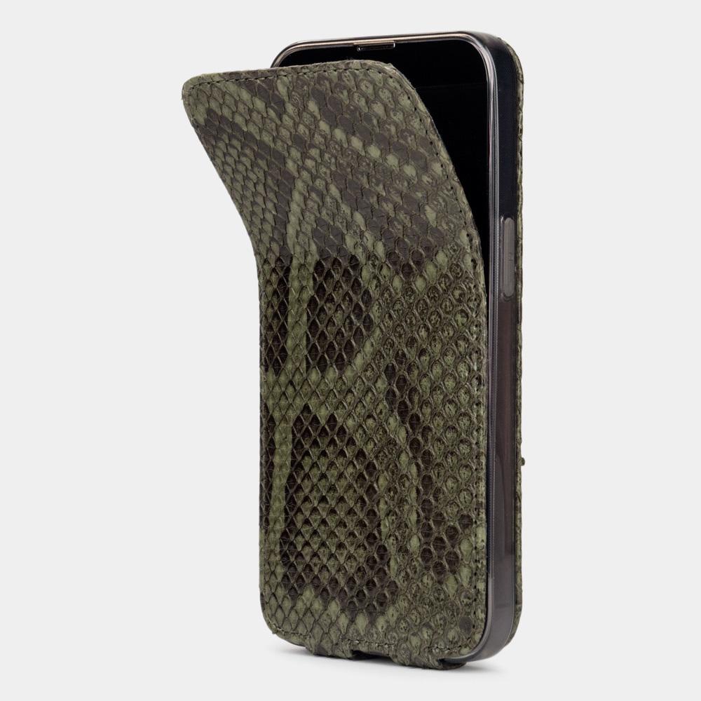Чехол для iPhone 13 Pro из натуральной кожи питона, зеленого цвета