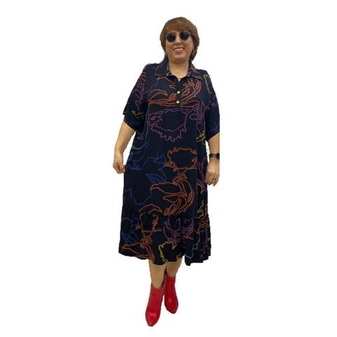 Платье с оборкой Абстракт