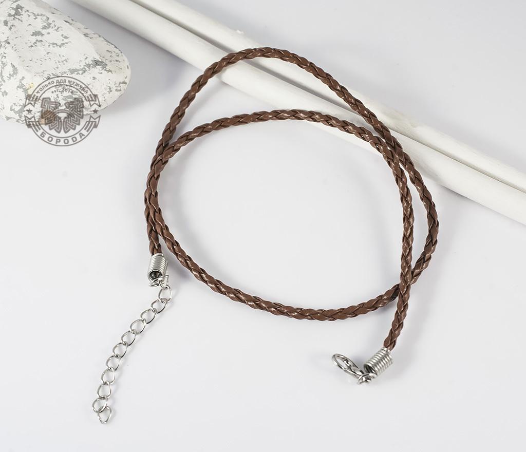 PL261-2 Светло-коричневый кожаный шнур с застежкой (44 см) фото 02
