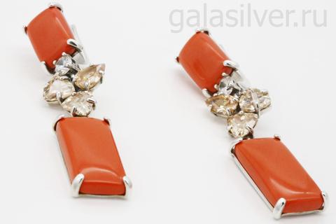Серьги с кораллом и фианитом из серебра 925