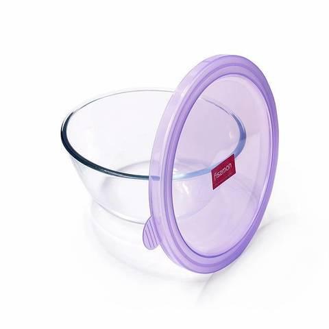 6521 FISSMAN Миска с крышкой 21x10 см / 2,1 л, стекло/пластик,  купить