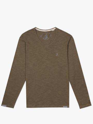 Long-sleeved V-neck khaki t-shirt