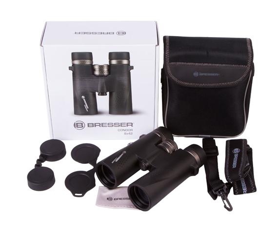 Бинокль Bresser Condor UR 8x42 - комплект поставки, сумка-чехол для бинокля, ремешок, гарантийный талон