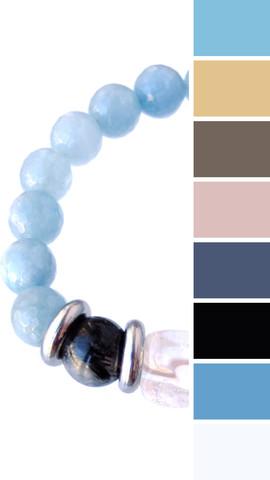 с чем носить браслет из голубых камней - цветовые примеры для одежды