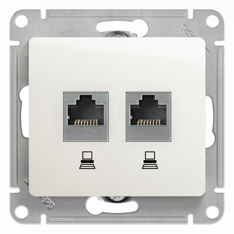 Розетка компьютерная двойная RJ45+RJ45, категория 5Е. Цвет Перламутр. Schneider Electric Glossa. GSL000685KK