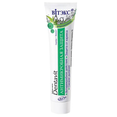 Зубная паста Dentavit фторсодержащая Серебро + Эвкалипт – Антимикробная защита , 160 гр