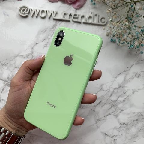 Чехол iPhone XS MAX Glass Full color Case Logo /green/