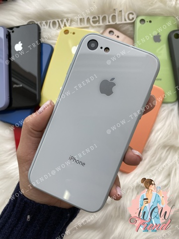 Чехол iPhone 7/8 Glass Pastel color Logo /mist blue/