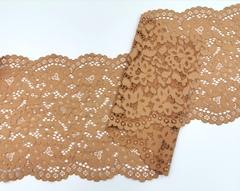 Эластичное кружево, 22 см, светло-коричневое, (Арт: EK-2204), м