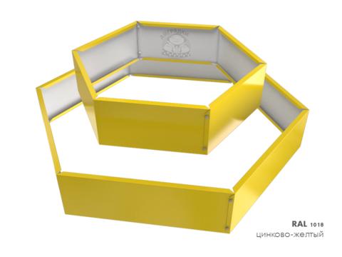 Клумба многоугольная оцинкованная 2 яруса  RAL 1018 Цинково-жёлтый