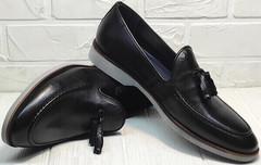 Стильные лоферы туфли черные мужские Luciano Bellini 91178-E-212 Black.