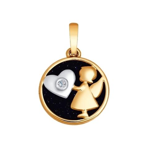 1030537 - Подвеска «Ангел» из золота с синим авантюрином и бриллиантом