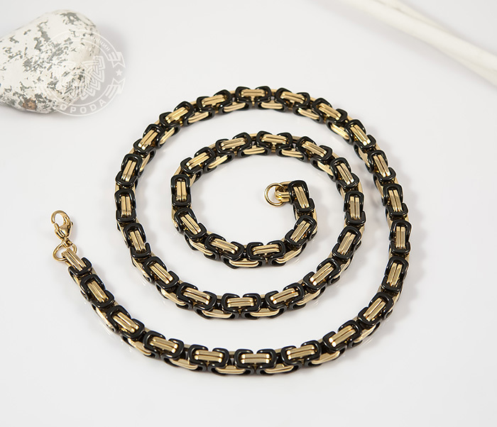 PM183 Оригинальная цепь из стали со звеньями черного и золотого цветов (60 см)