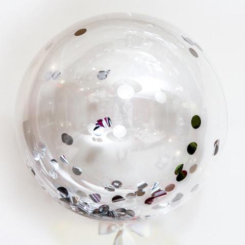 Шар Баблс с конфетти (Серебро)
