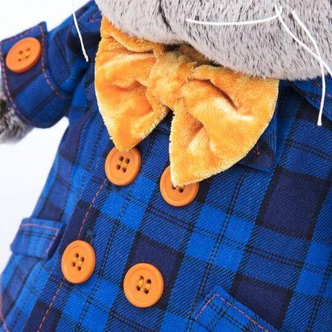Кот Басик в синей куртке и с бантом
