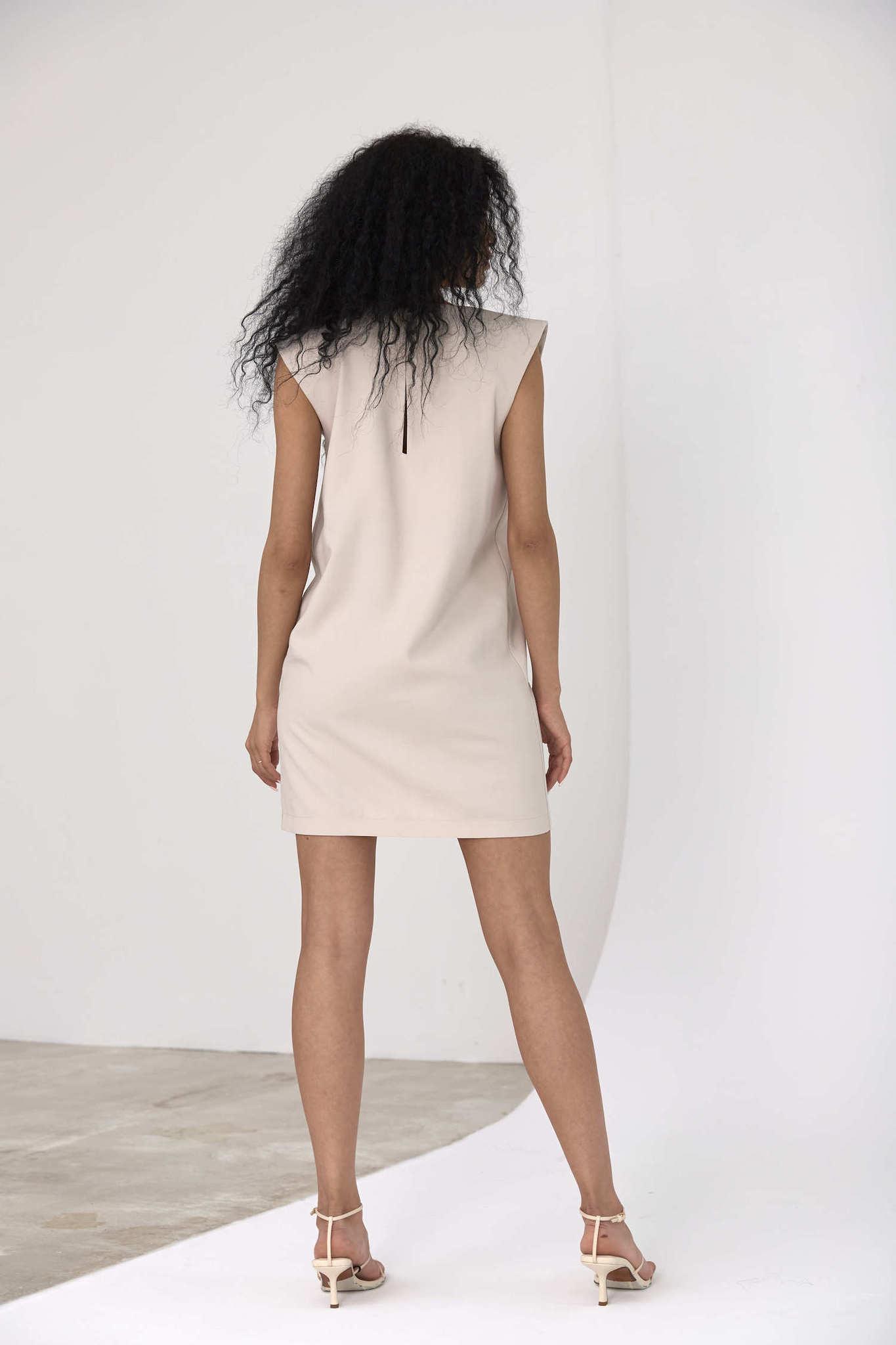 Платье-туника с акцентным плечом, светло-бежевый тенсел