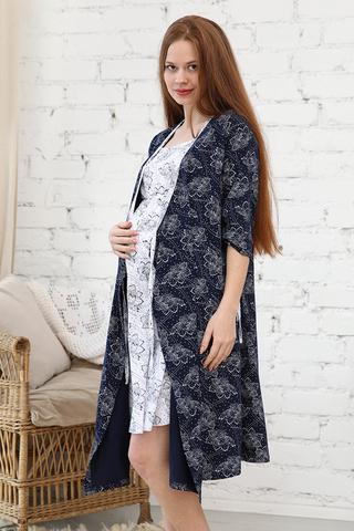 Комплект для беременных и кормящих с халатом и сорочкой 09972 синий