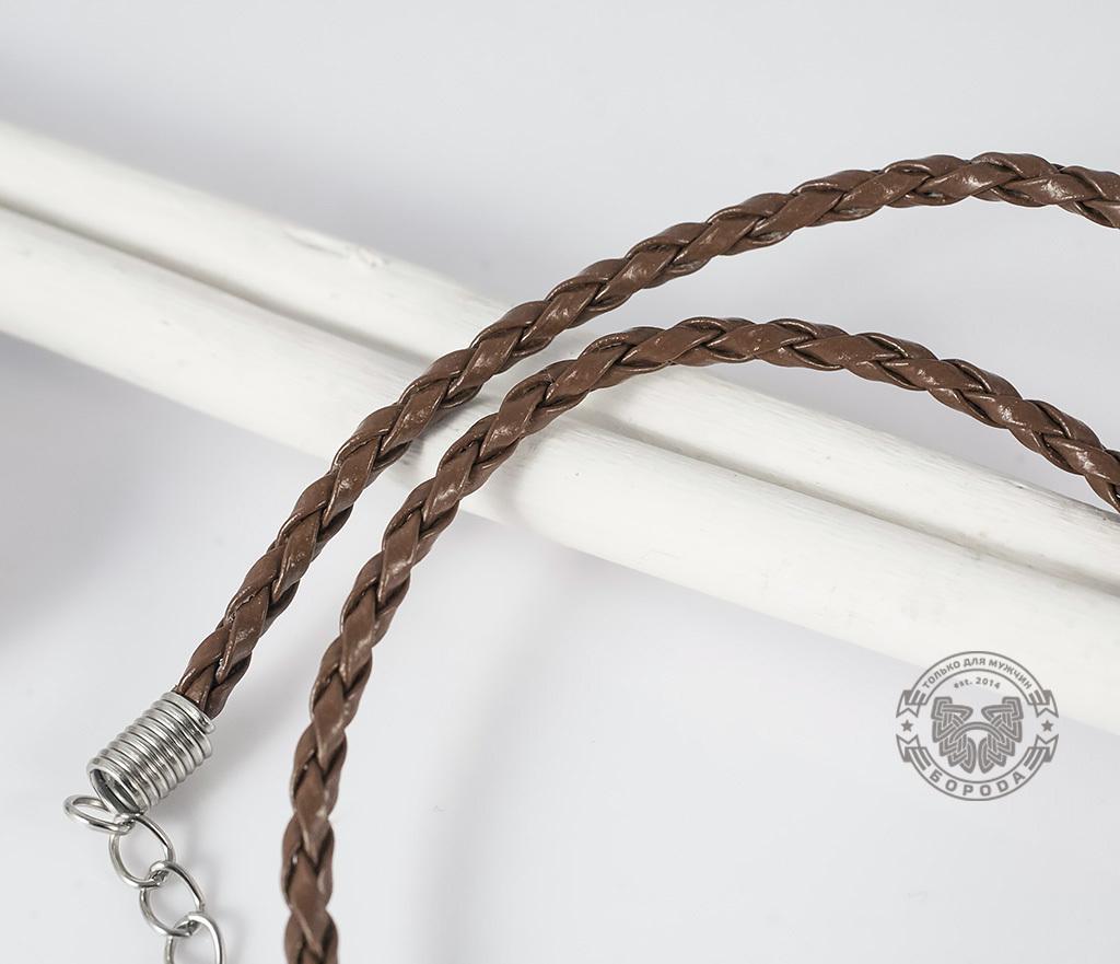 PL261-2 Светло-коричневый кожаный шнур с застежкой (44 см) фото 03