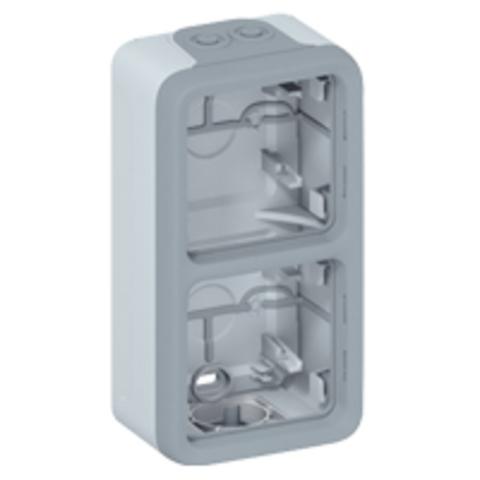Рамка на 2 поста вертикальная. Коробка для накладного монтажа c мембранными сальниками. Цвет Cерый. Legrand Plexo (Легранд Плексо). 069661