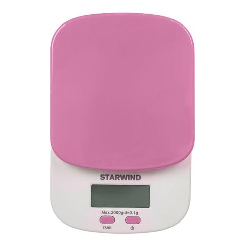 Весы кухонные электронные Starwind, до 2 кг, 2хААА, розовые