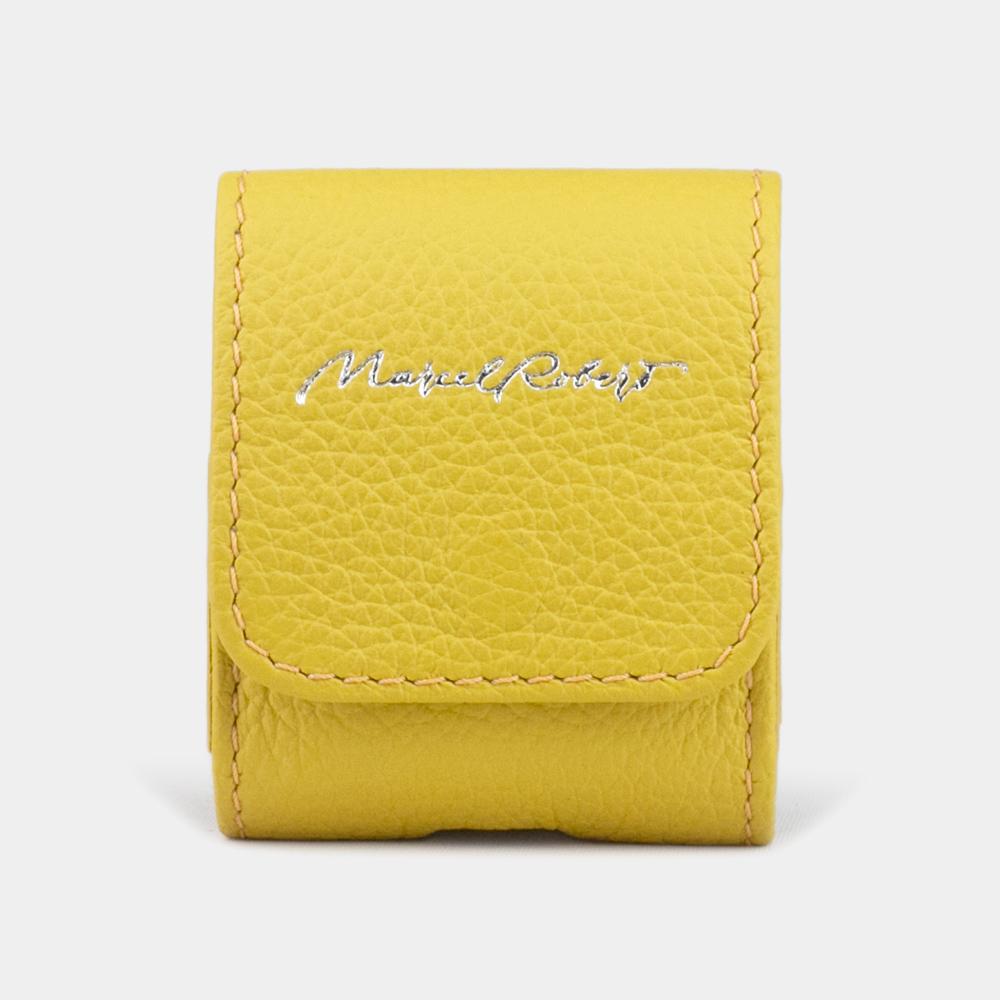 Чехол-держатель для наушников Petit Easy из натуральной кожи теленка, желтого цвета