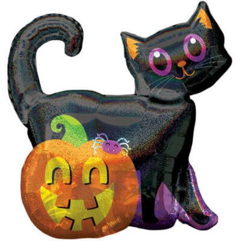 Фигура фольга Черный кот с тыквой