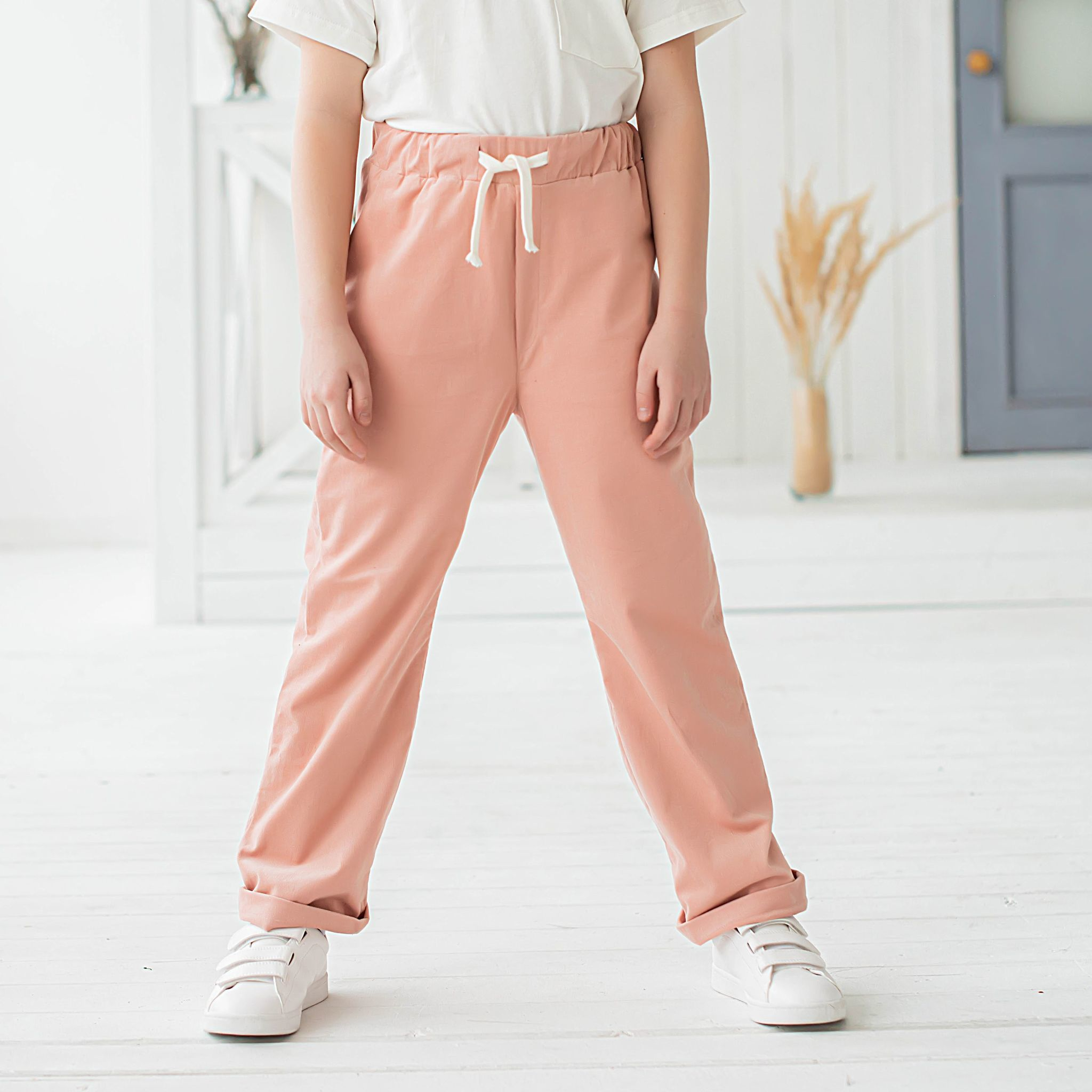 Corduroy trousers with cotton lining for teens - Blush