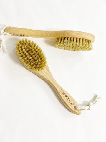 Щетка натуральная массажная с ручкой щетина дикого кабана малая ( лимфодренажная щетка) ECOмикс