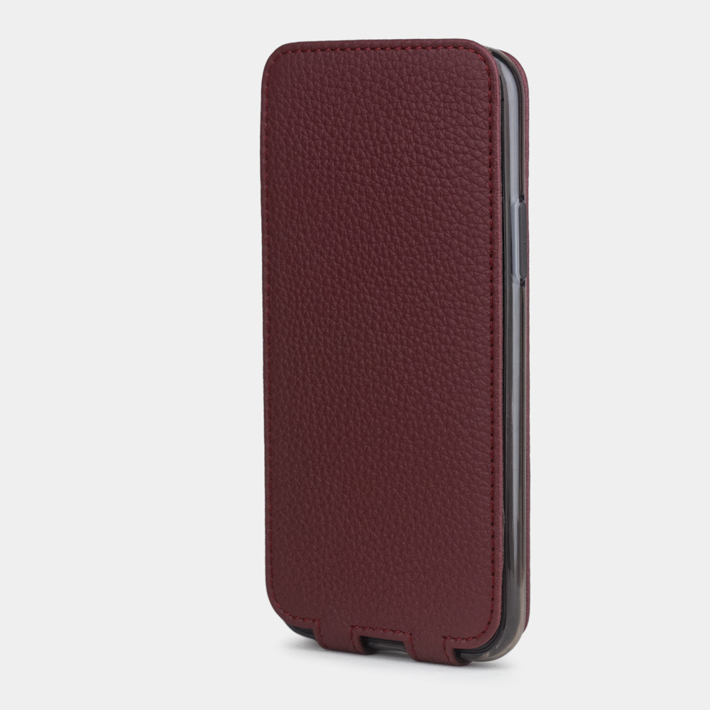 Чехол для iPhone 11 Pro Max из натуральной кожи теленка, бордового цвета
