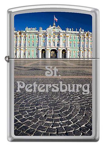 Зажигалка Zippo Зимний дворец, латунь/сталь с покрытием High Polish Chrome, серебристая, 36x12x56 мм123