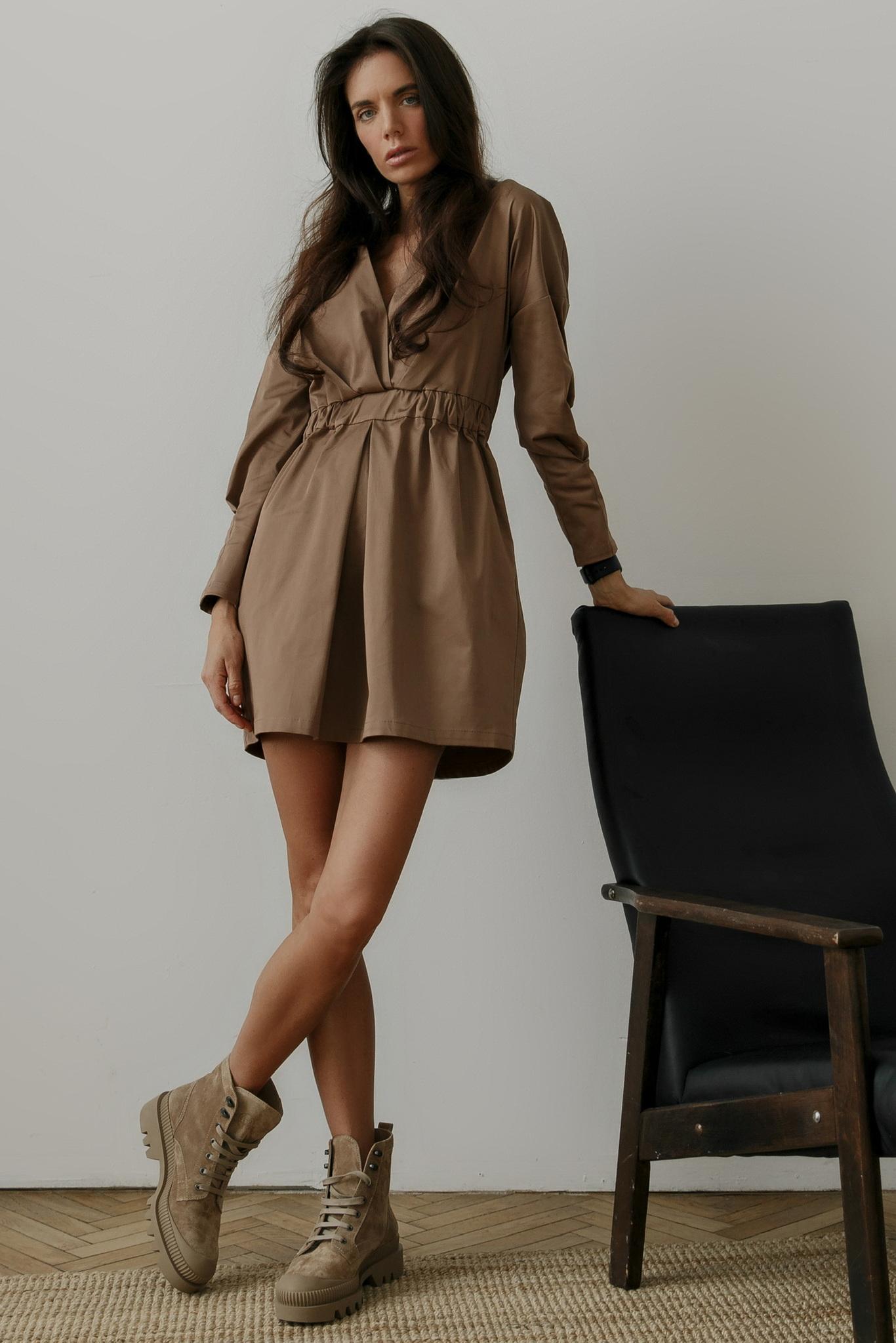 Платье мини со складками, карамельный