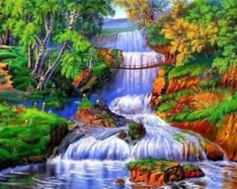 Алмазная Мозаика 30x40 Мост над водопадом (Арт. FEG70978 )