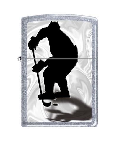 Зажигалка ZIPPO Classic Street Chrome™ с изображением хоккеиста с шайбой ZP-207 HOCKEY