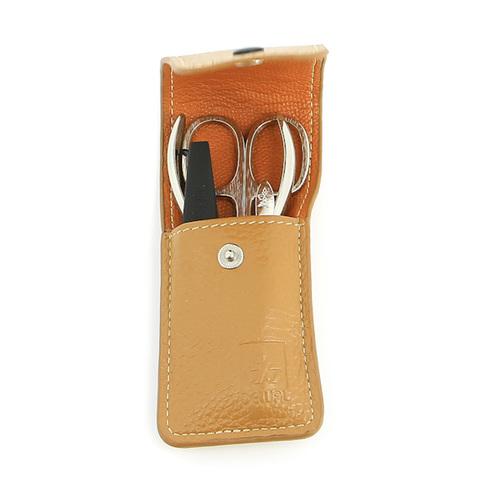 Маникюрный набор Dewal, 4 предмета, цвет бежевый, кожаный футляр