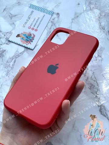 Чехол iPhone XR Glass Pastel Matte silicone /red/