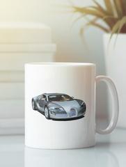 Кружка с автомобилем Bugatti Veyron (Бугатти Вейрон) белая 0011
