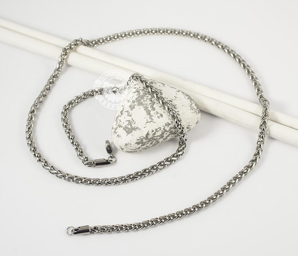 PM215-1 Красивая мужская цепочка из ювелирной стали интересного плетения (4 мм) фото 02