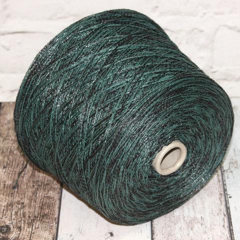 Смесовка со льном Casa Del Filato / BERRY  320 зеленый с черным