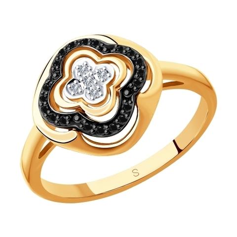 7010047 - Кольцо из золота с бесцветными и чёрными бриллиантами